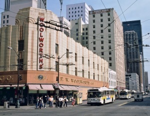 The Woolworth's store at 3rd & Pike in downtown Seattle in 1986. Photo by Steve Morgan, Portland.